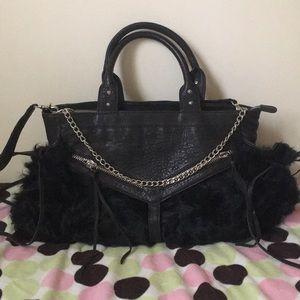 Handbags - Black Leather Goat Lamb Curly Fur Bag